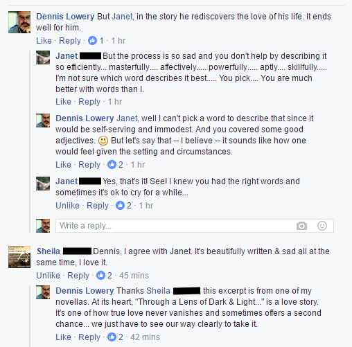 Comment thread when I replied to someone who gave a story excerpt a sad-tears-face on Facebook